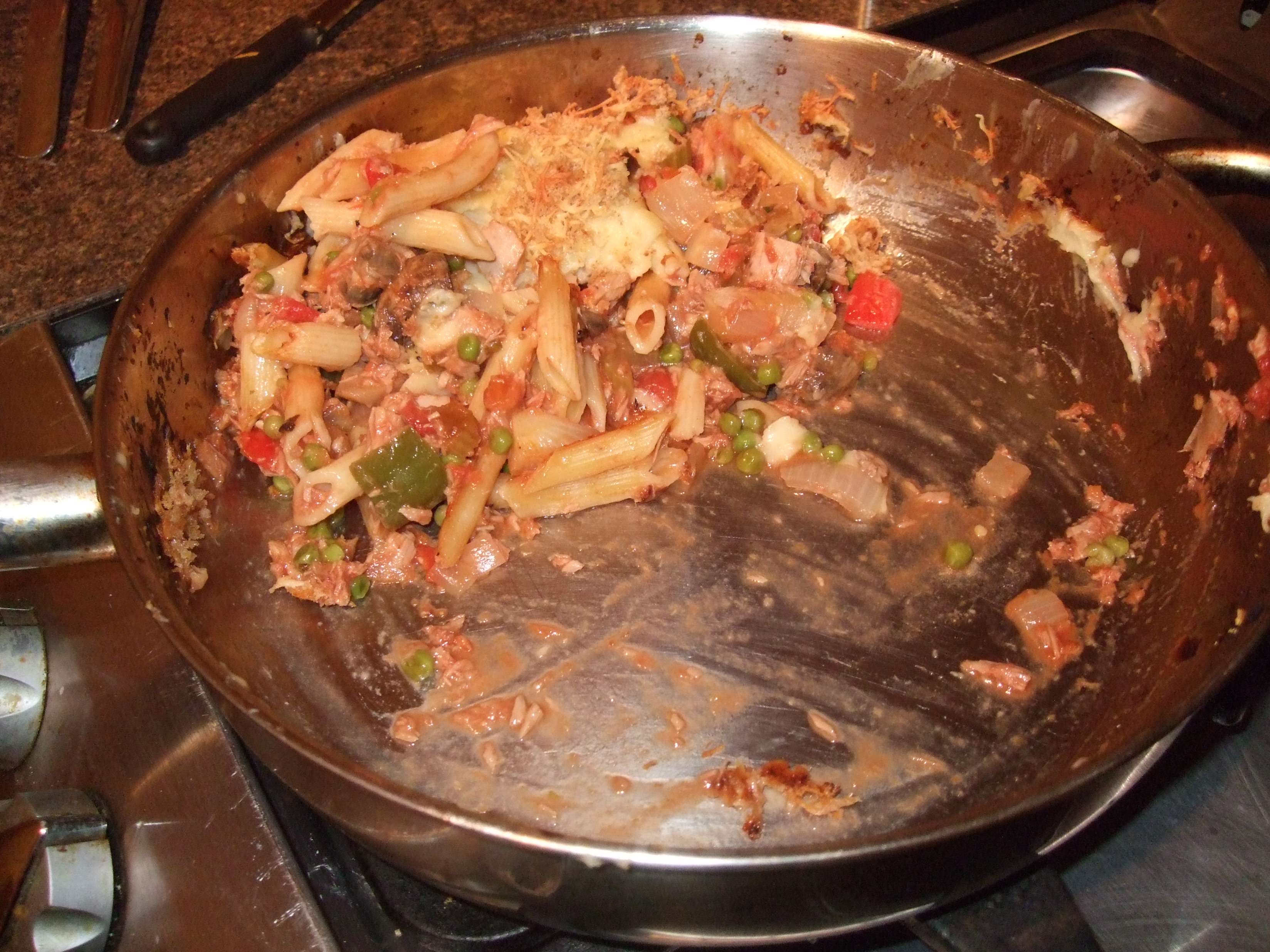 The remains of tuna and pasta bake